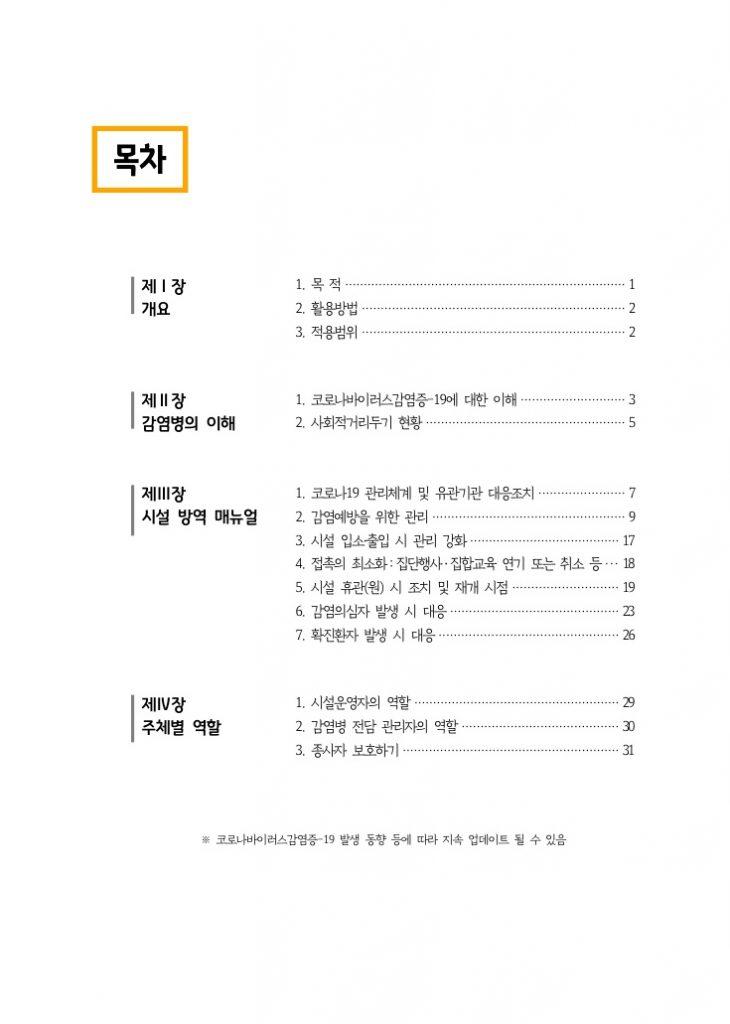 경기도 사회복지 G-방역+ 운영매뉴얼_목차