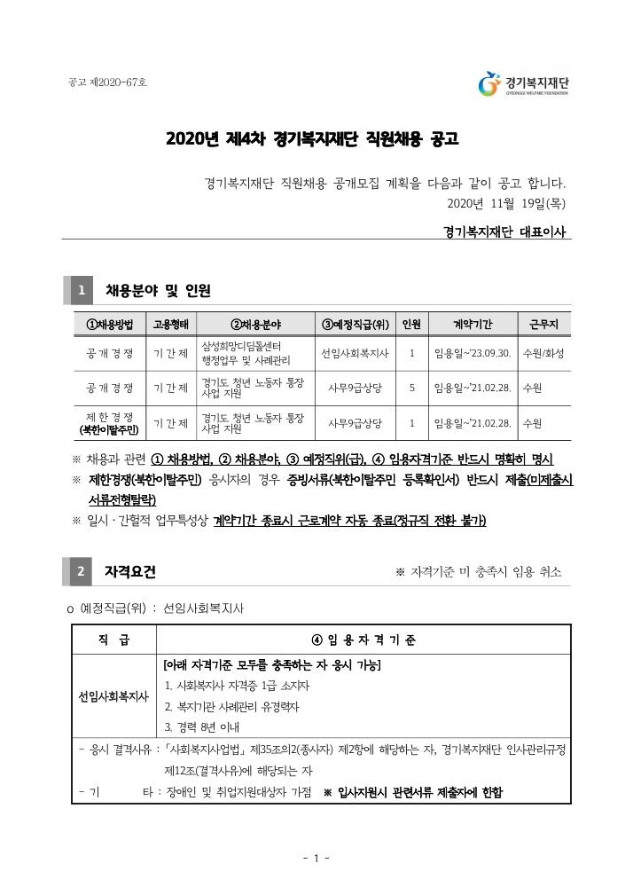 2020년 제4차 경기복지재단 직원채용 공고_page1