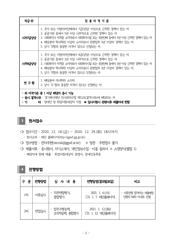 2020년 제5차 경기복지재단 직원채용 공고_page2