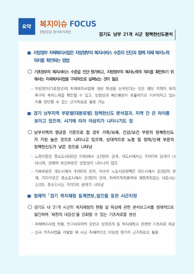[복지이슈 FOCUS 10호] 경기도 남부 21개 시군 정책헌신도분석_요약페이지